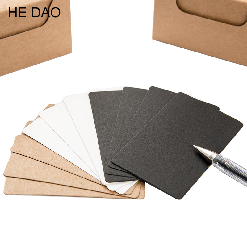 100 Pcs/box Black White Kraft Paper Memo Pad Notebook Business Paper Cards Stationery Stickers Memo Pads Word Cards цена и фото