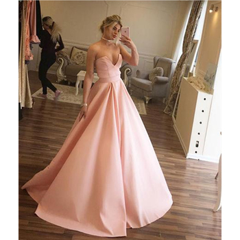 2019 New Long Formal Dresses Strapless Floor Length A Line High Quality Satin Maid Of Honor Dress Cheap Bridesmaid Gowns