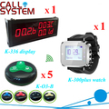 Hotel guest paging system call button with wrist watch receiver and big screen monitor