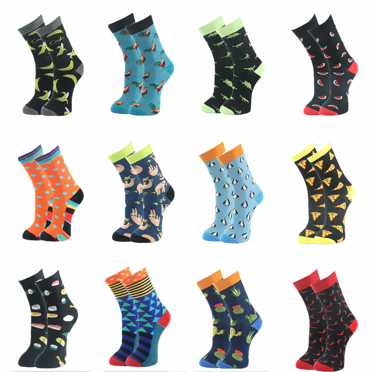 Men's Fashion Funny Dinosaur Pepper Elephant Beer Watermelon Pizza Duck Cat Dog   Socks   Happy Men's Long   Socks   Animal Food   Socks