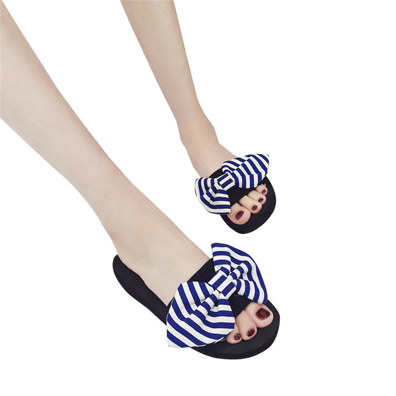 Women Bow Summer Slipper Indoor Outdoor Flip-flops Beach Shoes Casual Zapatos Mujer High Quality Women's Summer Footwear Flat instantarts women flats emoji face smile pattern summer air mesh beach flat shoes for youth girls mujer casual light sneakers