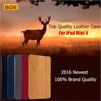 For IPad Mini Retina 100 Original BGR Brand Sleep Wake Up Fold Stand Leather Case Smart