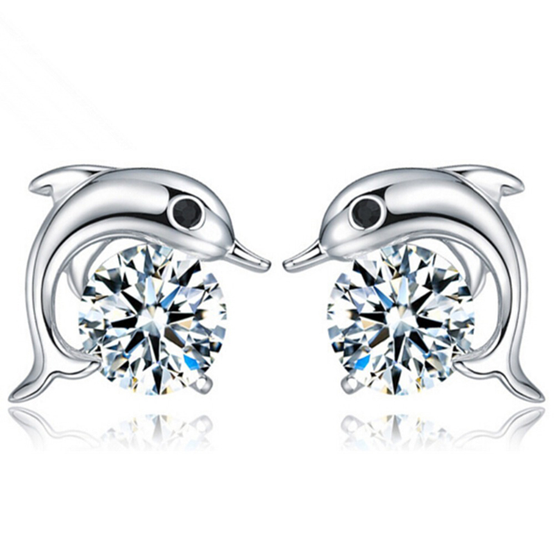 Free Shipping Wholesale Jewelry Fashion Cubic zirconia Crystal Dophin Shape Stud Earring ...