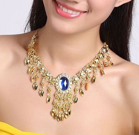 12pcs lot Double Use Necklace and Hairwear with Crystal Gems Tassel Headwear collar Belly Dancewear Necklet Favors ta015 in Pendant Necklaces from Jewelry Accessories