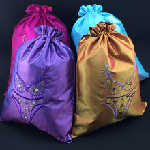 Large Jacquard Jewelry Gift Bags Luxury High End Silk Brocade Tassel Trinket Zipper Storage Pouches Rectangle Packaging
