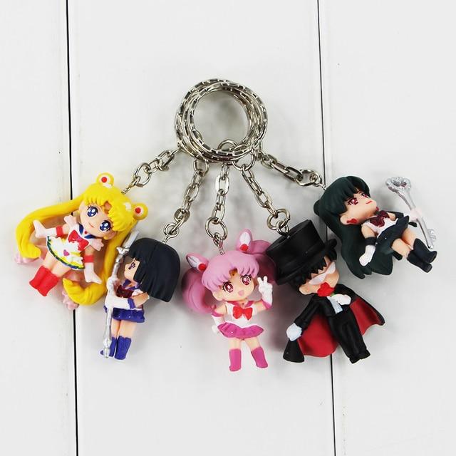 5pcs/lot Cartoon Anime Sailor Moon Mars Jupiter Venus Mercury Keychains PVC Figures Toys Key Ring Pendants Gift for Kids