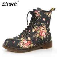 EISWELT Woman Martin Boots Fashion Flower Shoes Lace Up Motorcycle Oxfords Flats Ankle Boots For Women
