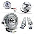 "Chrome LED 6 1/2"" Motorcycle Headlight HeadLamp W/ Bracket For Kawasaki Harley Honda Suzuki Yamaha Blue Angel Eye Custom"