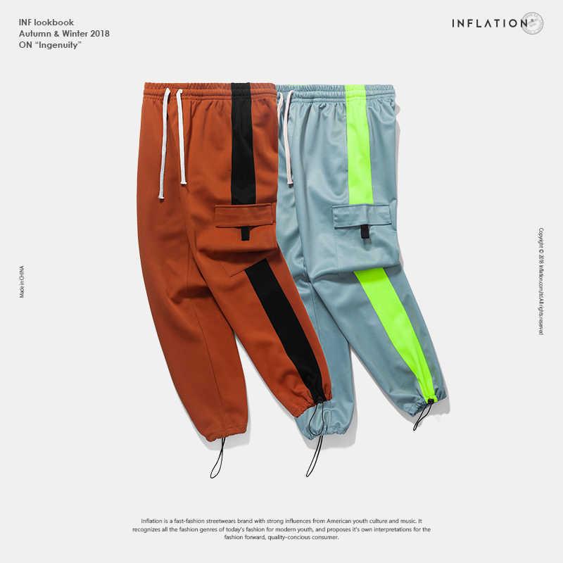 INFLATION спортивные штаны мужские мужская одежда Мужские свободные штаны-шаровары брюки для бега спортивные штаны Лоскутные цвета хип-хоп уличные шаровары штаны для бега штаны унисекс брюки карго 8851 W