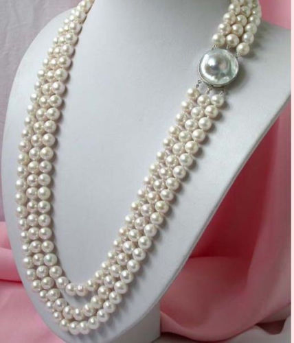 New 3 ROWS 8-7MM white SOUTH SEA cultured pearl necklace 18-19-20>>>Free shipping free shipping hot sale jewelry 3 rows oval white black pearl necklace