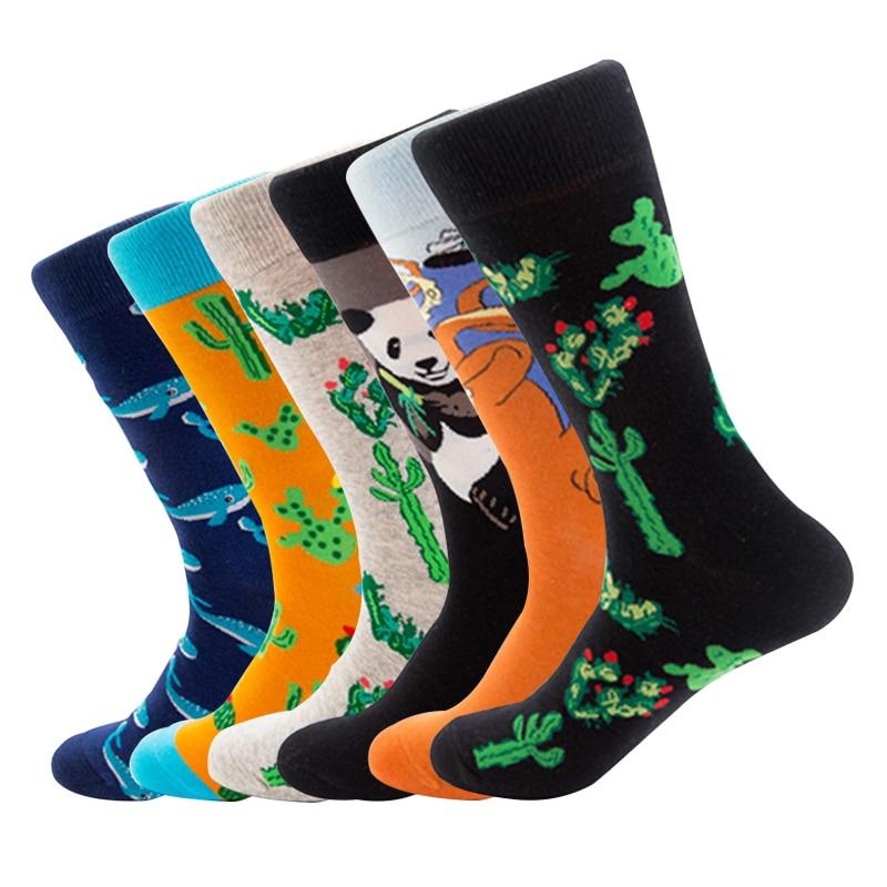 Panda Animal Plant Whale Cactus Octopus Autumn Winter Street Style Socks Funny Happy Socks Cotton Men Socks Female Women Socks