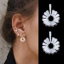 SISCATHY AAA Cubic Zirconia Stud Earrings For Women Elegant Gold Silver Ear Jewelry Party Flower Accessories 2019