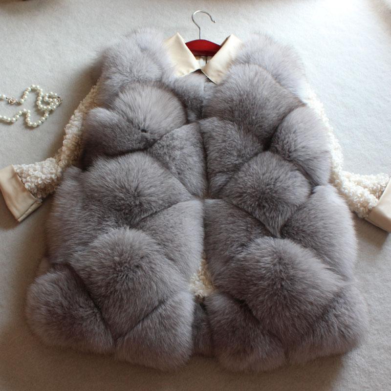 Podzimní zima skutečné kožešinové vesty móda britský styl teplý luxus Přírodní liška kožešinová žíně pro ženy nakupující oblečení