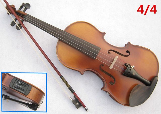 Electric Spruce violin 4/4 violin handcraft violino Musical Instruments with Pickup violin rosin case violin bow