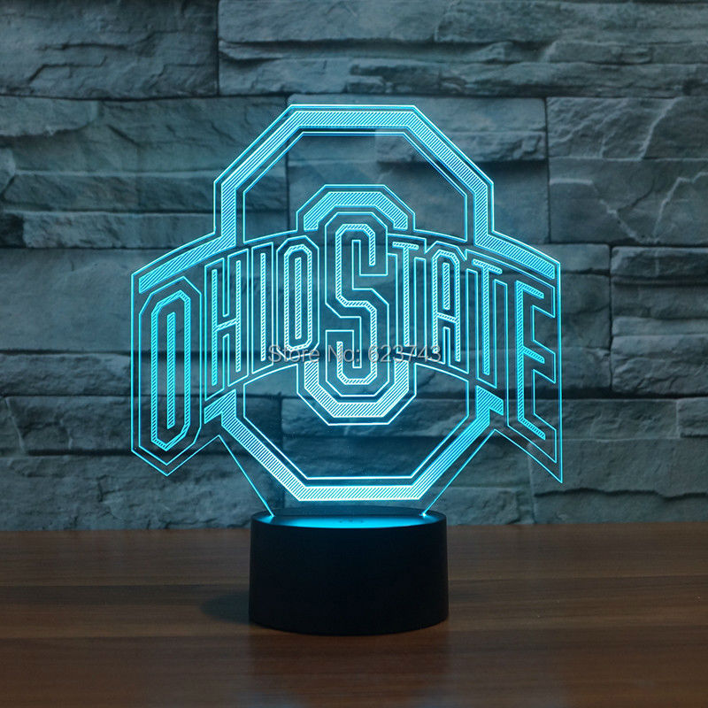 Ohio State Logo 3d Lamp Night 7 Color Change,Best Gift Night Light LED Furnish Desk Table Lighting Home Decoration Toys