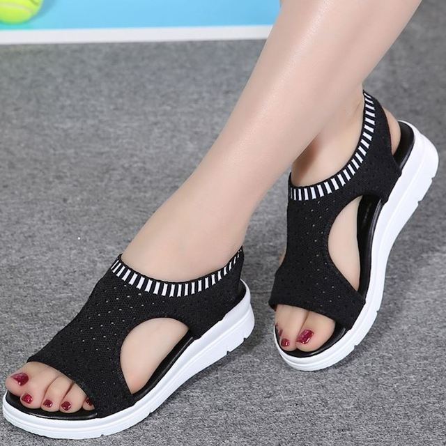 ebc780d2fbbe53 VTOTA Plus Size 45 Fashion Women Sandals Summer Mesh Breathable Platform  Walking Shoes Black Sandals Peep Toe sandalias mujer