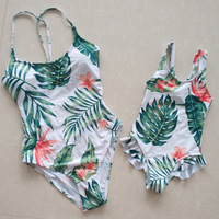 Variety Sexy Mommy And Me Bikini Family Matching Clothes Triangle Siamese Swimsuit Print Mother And Daughter Swimwear