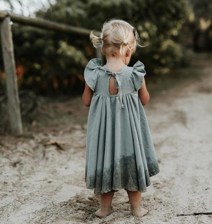 2019 children summer flying sleeves cotton and linen dress girls summer lace dress