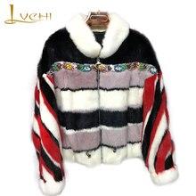 LVCHI 2018 Import Real Mink Fur Coats Women's Contrast Color Patchwork Coat Swarovski Crystal Heavy show catwalk Mink Fur Coats