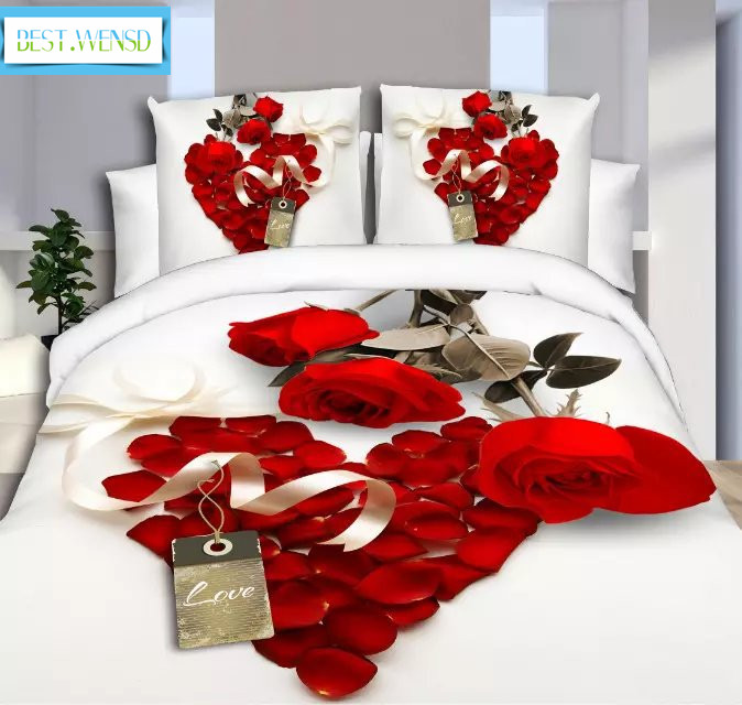 BEST.WENSD luxury jacquard bedclothes 3d Rose Wedding flat bed linen 100% microfibre bedding set duvet cover housse de couette