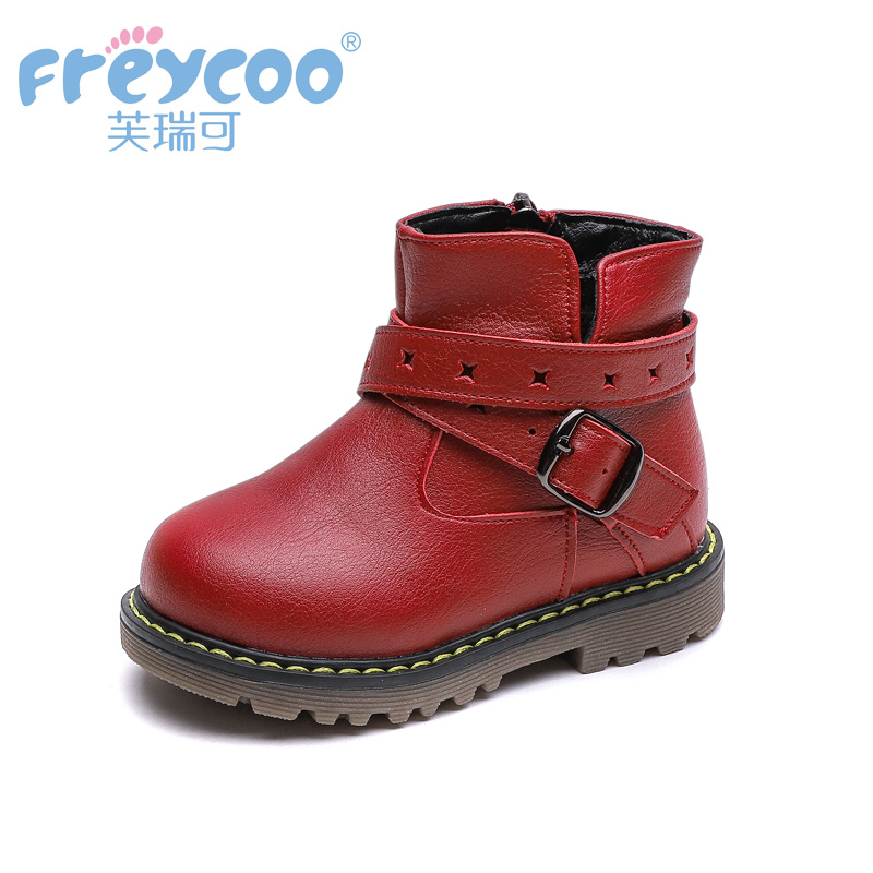 Freycoo 2019 New Fashion Winter Baby Kids Shoes For Girls Boys Cowskin Genuine Leateher Children Cotton-padded Boots