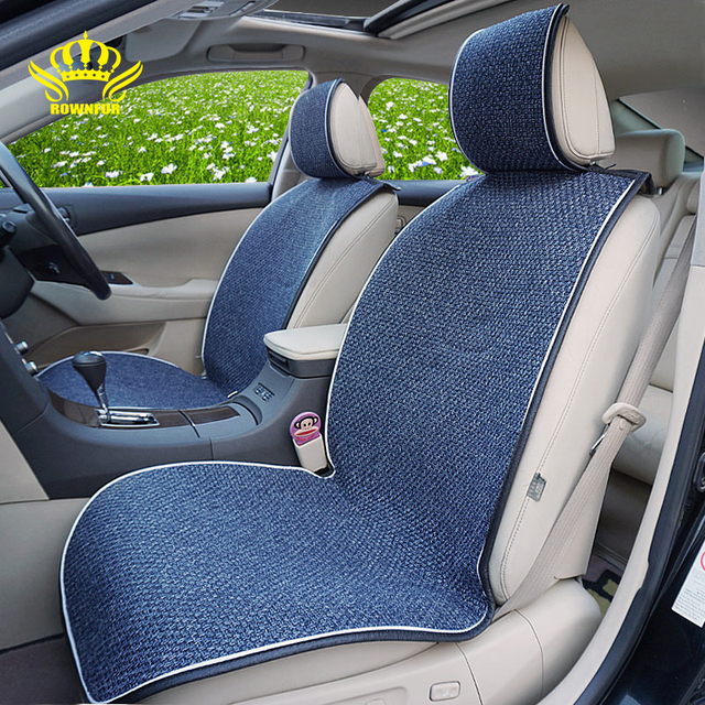2 Pcs Car Front Seat Flax Fabrics Car Seat Covers Universal Car seat Cushion Accessories Decorate Protection Covers For Car Seat