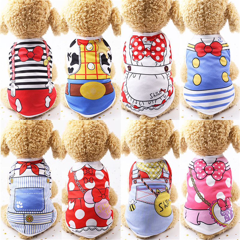 New Cotton Dog Vest Cute Print Cartoon Pets Clothes for Small and Medium Pet Supplies Cheap Doggie Shirts