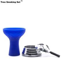 Blue Shicha Bowl Hookah Narguile Nargile Smoking Pipe Shisha Accessories Cachimba Cazoleta Gift Kaloud Sisha Tabac TWAN0356