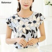 Batoneur 2017 Women Summer Fashion Chiffon Elegant Short Sleeve Print O-Neck Shirt  Floral Print Blouse
