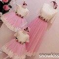 2016 Novas Rendas flor vestidos da menina com Arco Bebê ocasião do casamento vestidos de baile Vestido de Festa de Aniversário Dos Miúdos vestidos de Noite