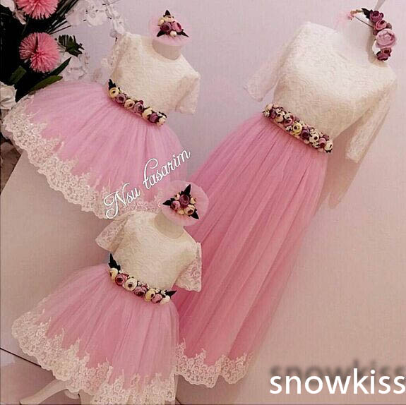 Lace ivory and pink flower girl dresses with sleeves Baby Birthday Party mother and daughter Dress ball gowns for Kids Evening