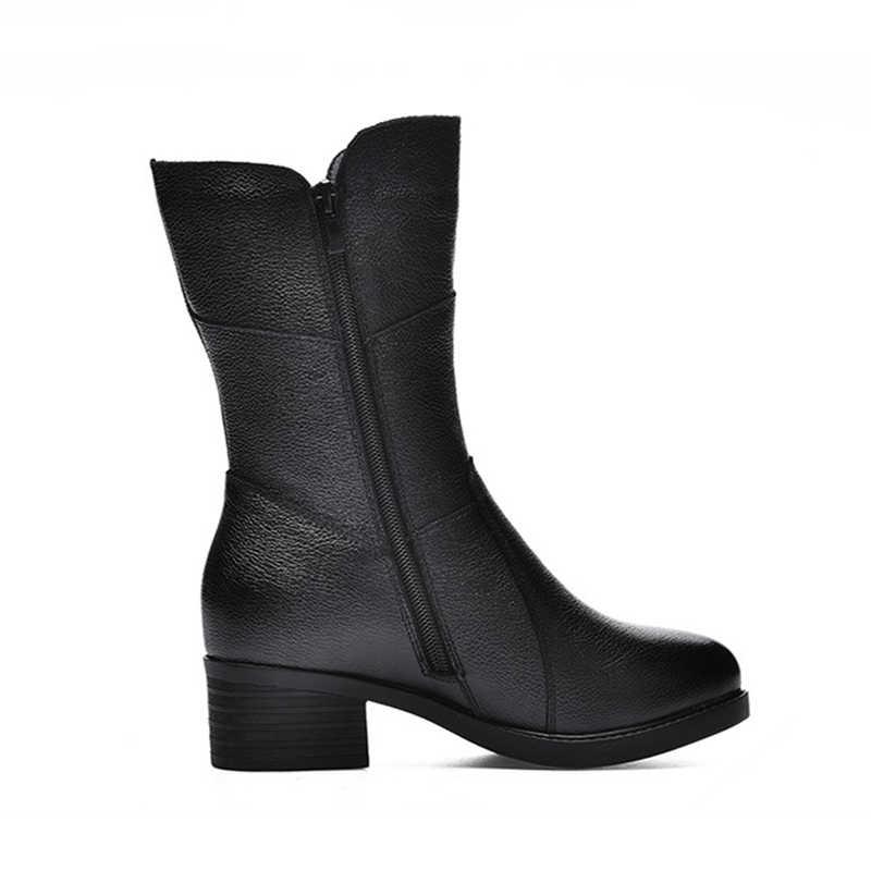 DONGNANFENG Nữ Nữ Mẹ Nữ Da Thật Chính Hãng Da Giày Giày Giữa Bắp Chân Mùa Đông Sang Trọng Lông Ấm Dây Kéo Med Gót Bling BH-8783