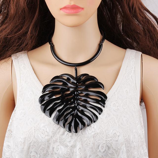 Boho Vintage Chokers Necklace Big Metal Leaf Pendant Statement Collar Chokers Necklace Women Wedding Jewelry