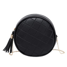 Fringed mini round bagVintage PU  Leather Round Crossbody Bag For Women Shoulder Bags Ladies Small Handbags Mini Tote