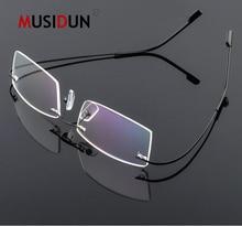 цена на Titanium Rimless Flexible Optical Glasses Frame Man woman Myopia Eyeglasses Frame Prescription Spectacle Frameless Q518