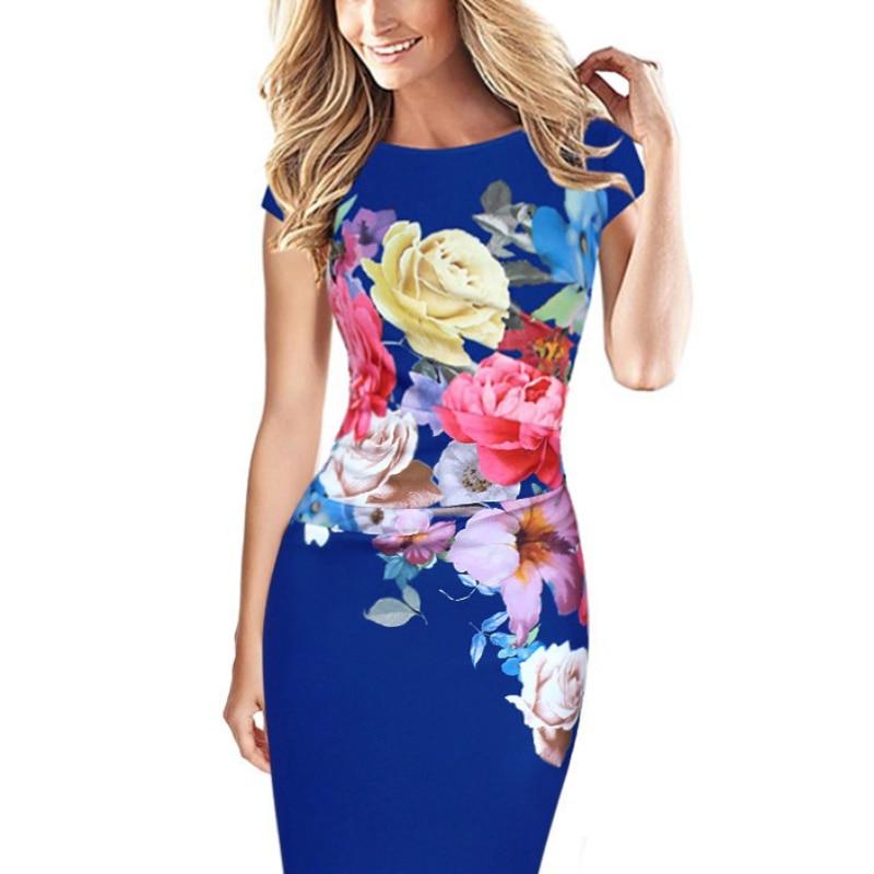 Para mujer elegante dress floral vestidos impresos manga del casquillo acanalado