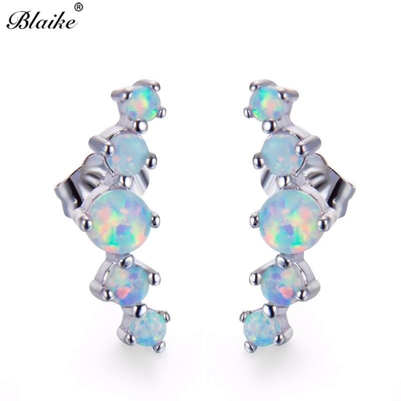 Blaike Weiß Feuer Opal Runde Stud Ohrringe für Frauen 925 Sterling Silber Birthstone Ohrring Weibliche Mode Schmuck Geschenke
