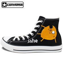 Converse Chuck Taylor Shoes Brand Design Hand Painted Canvas Sneakers Adventure Time Jake Finn High Top Athletic Shoe