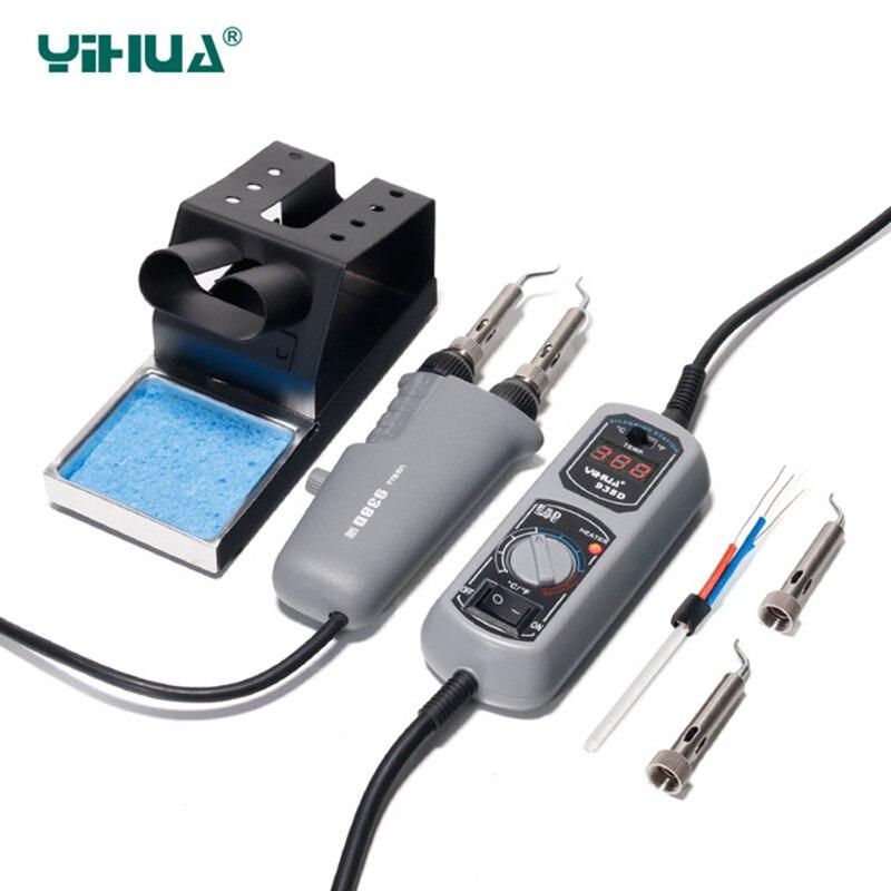 YIHUA 938DピンセットミニはんだごてステーションBGA SMD用ポータブルホットピンセットピンセットアイロン110 220V EU USプラグアイロンはんだジェピット