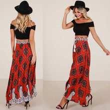 Summer new hot high waist female skirt popular fashion national style loose wide leg print sexy large size