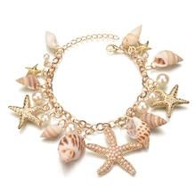 Fashion Star Starfish Conch Shell Bracelet Bangle Charm Multi-element Bracelet For Women Jewelry Summer Style Beach Best Gift