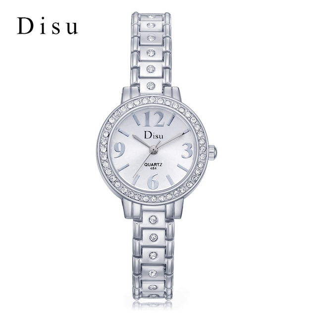 DISU Fashion Women Silver Bracelet Watch Top Luxury Brand Watches Women Females