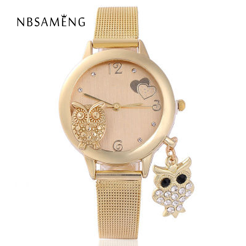 Fashion Owl Pendant Quartz Watch Women's Gold Luxury Wrist Watches Ladies Crystal Clock Owl Relogio Feminino Montre Femme LZ2229 стоимость