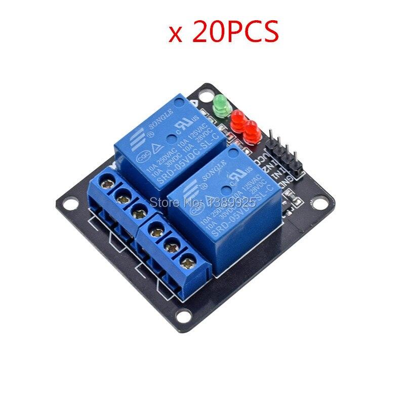 Wholesale 20pcs/lot DC 5V Indicator Light LED Two 2 Channel Relay Module