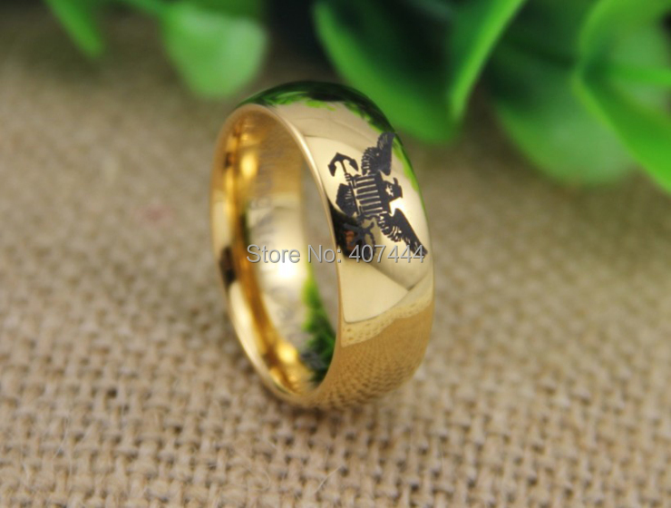 free shipping usa uk canada russia brazil hot sales 8mm shiny new golden dome usa military - Military Wedding Rings