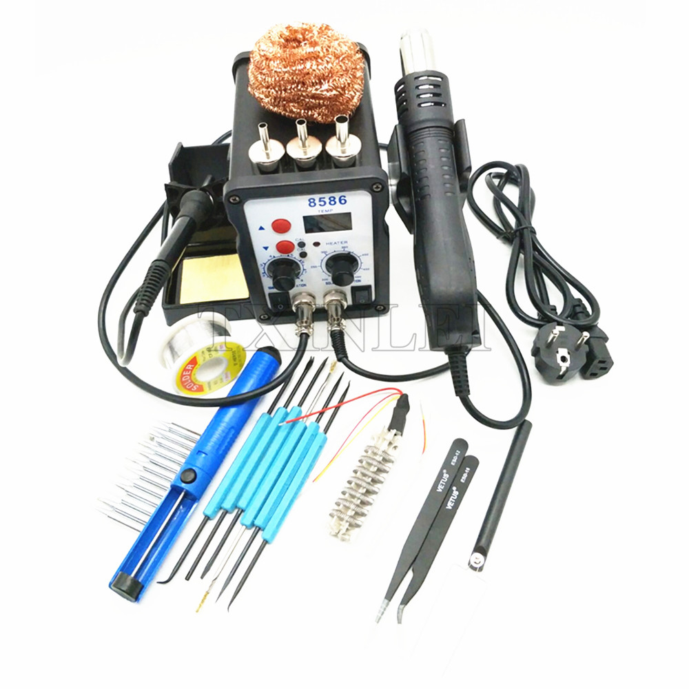220V 8586 700W 2 In 1 SMD Rework Soldering Station Hot Air Gun + Solder Iron With Free Gifts