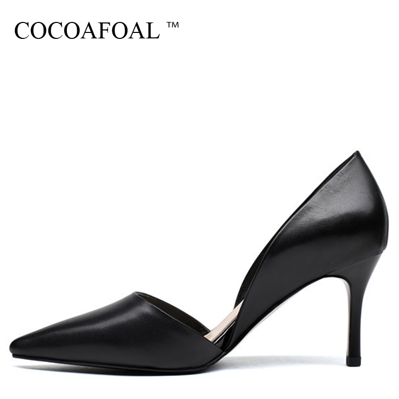 COCOAFOAL Woman Wedding Pumps Black Fashion Pink Sexy High Heels Shoes Party Pointed Toe Two-Piece Genuine Leather Pump 2018 lucyever fashion buckle crystals bling pumps women elegant thin high heels point toe party wedding shoes woman glod sliver black