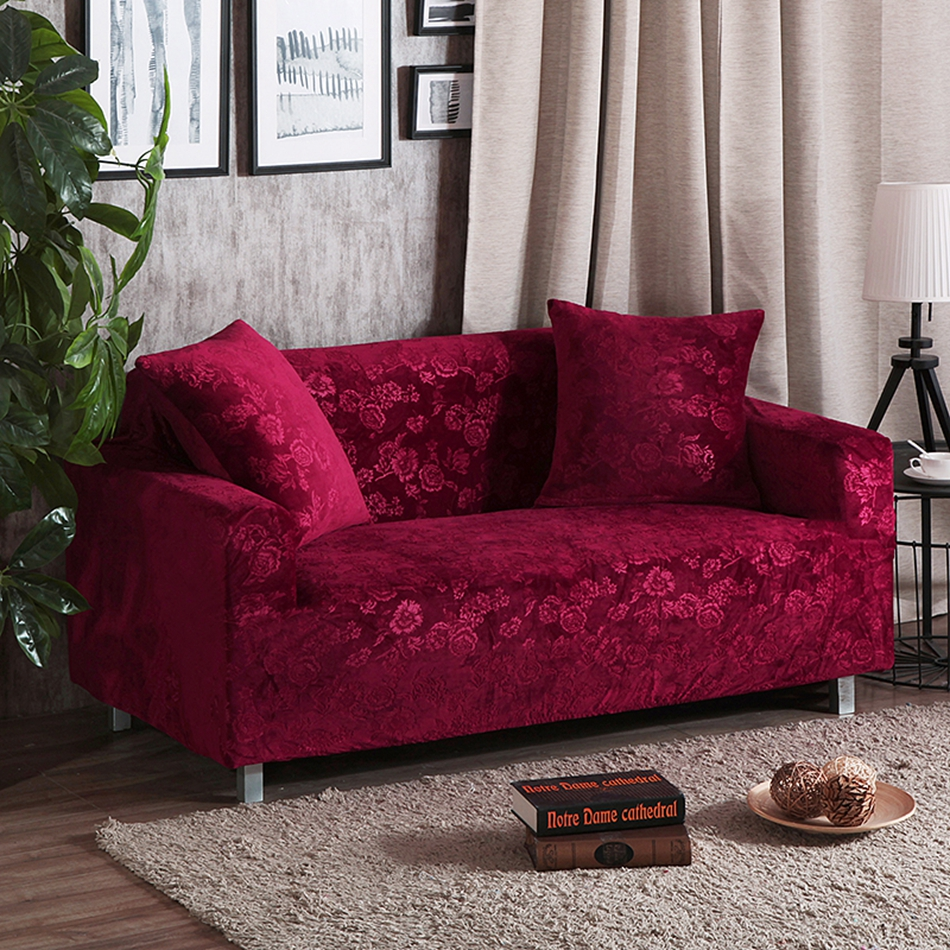Universal Red Wine Stretch Sofa Covers For Living Room 100