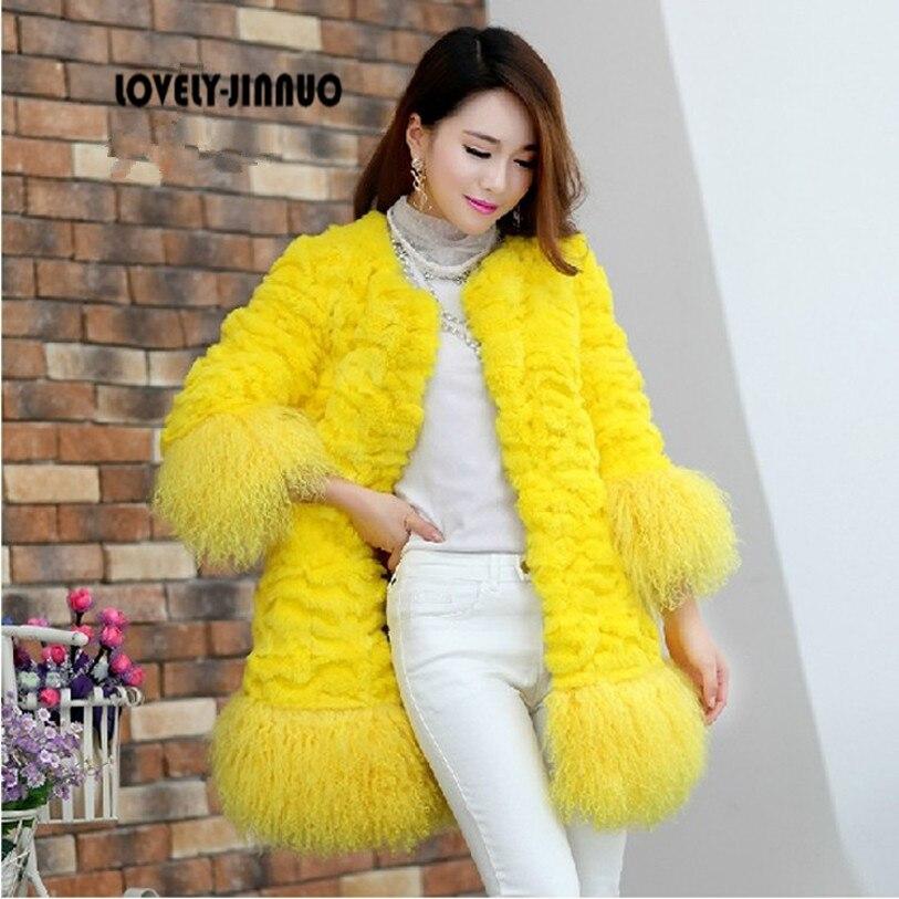 Genuine Rabbit fur coat women fashion long rabbit fur jacket with lamb fur hem winter fur