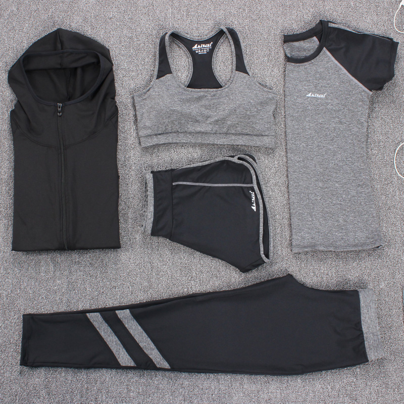 2017 Top Quality Fitness Women 5 Pieces Yoga Set Sport Bra & T-shirt & Hoodies &Pants Gym Clothes Sport Wear Running Outdoor Jog new women yoga fitness sets sport pants yoga leggings elastic tights capri running gym hairband printed pants t shirt 3pcs set